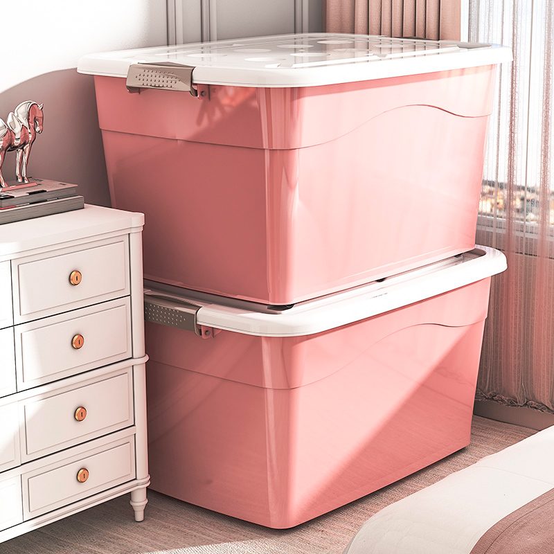 The storage box is an oversized plastic locker and a home artifact storage box clothes basket is thickened and moved to organize the box