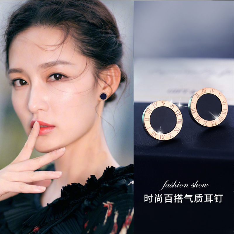 Premium earrings French net red 2021 new round-faced earrings simple fashion small air temperament earrings