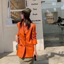 Fu Zhi-Eun leather leather women long section of Orange slim thin ulzzang suit sheep leather clothing