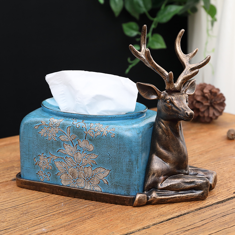 American European Deer Towel Box Decoration Creative Home Living Room Paper Box Dinner Paper Box New Home Soft Decoration