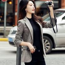 Шерстяной плед блейзер женский случайный темперамент маленький костюм осень и зима новая корейская версия Леди британский стиль профессиональная одежда