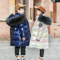 Childrens down jacket 2020 new girls middle-length version of boys in the big childrens clothing thickened Korean version of the foreign brand