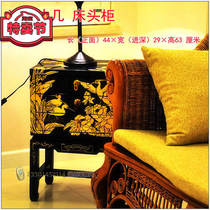 Yangzhou lacquer factory neoclassical lacquer art home decoration carved flower bird three draw bed head xuanguan decorative cabinet customization.