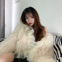 2021 Winter Net red explosive lace Fox raccoon hair double-sided woven young short tassel lace fur coat