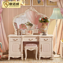 European dressing table bedroom combination Princess makeup table table simple with light mirror makeup cabinet net red Mini small apartment