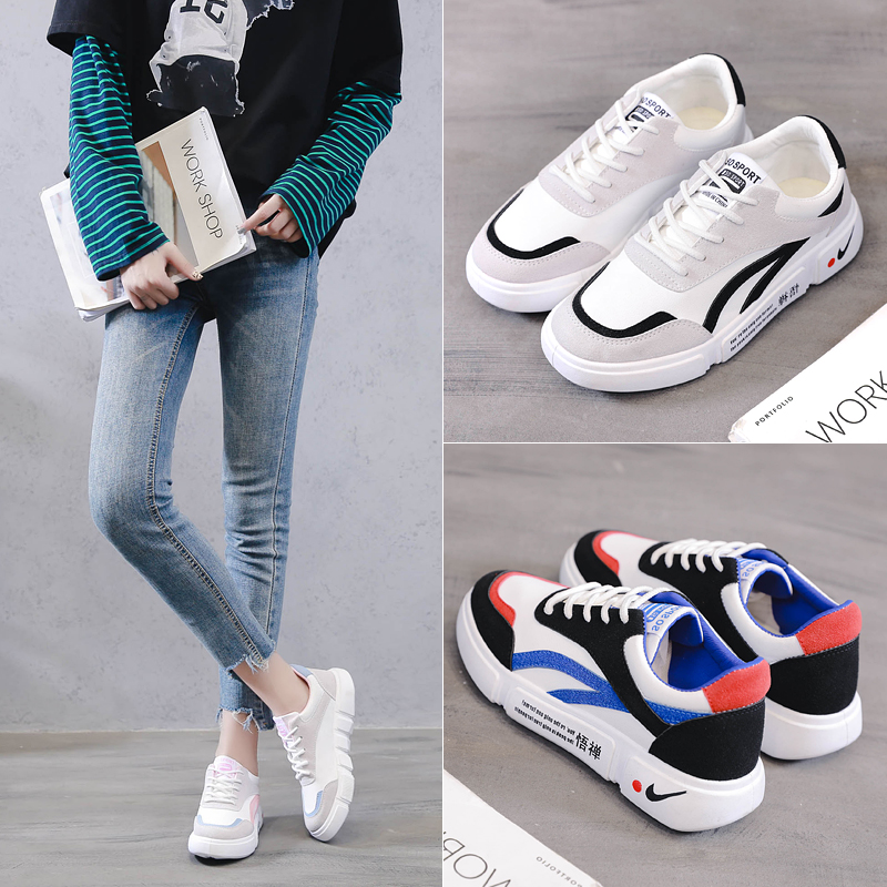 Cowhide white shoes 2018 autumn new students women's shoes casual fashion shoes thick bottom non-slip sports wild women
