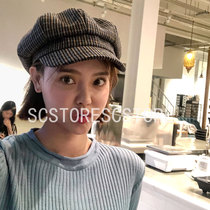Imported from South Korea. Autumn and winter new pattern foreign gas lattice octagonal hat