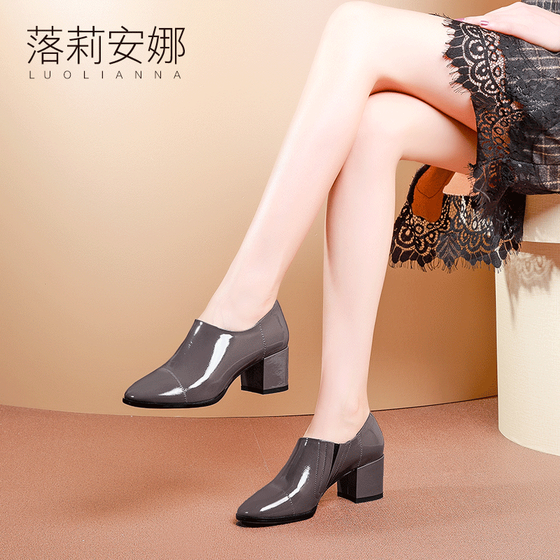 Single Shoe Female Spring 2019 New Fashion Soft Top Lacquer Shoes with Round Head, Small Heel, Coarse Heel and Deep Mouth