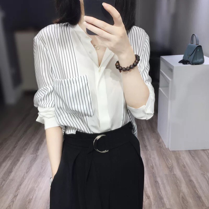 Spring and summer new item 2021 loose chiffon shirt womens fashion temperament striped v-neck long-sleeved wild career top tide
