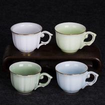 With handle tea cup blue porcelain kung fu tea set ceramic tasting cup Longquan blue porcelain blue single cup master cup