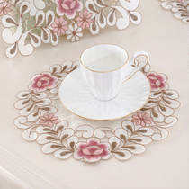 Flower Garden Art Cup cushion mat European American country hollowed embroidery insulation pad vase mat