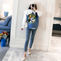Maternity dress autumn and winter set Korean spring and autumn loose doll collar white shirt large size sweater cartoon knit vest
