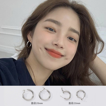 Circle earrings womens summer sterling silver hypoallergenic large circle earrings 2021 new trend niche simple design sense