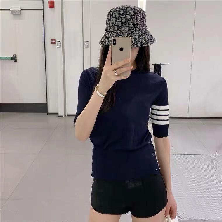 Thom browne 2021tb new spring summer ice silk knitted cardigan bottom top round collar solid color T-shirt girl