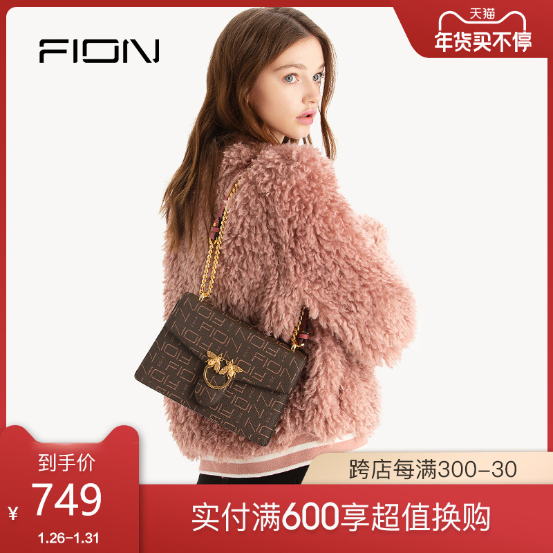 Fion Fion Fianne niche light luxury girl bag old flower chain small square bag fashion bee one-shoulder sloping bag