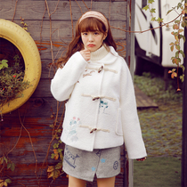 Autumn and winter sweet Japanese embroidery Horn button-style sweet thick warm woolen short coat woolen cloth shirt women