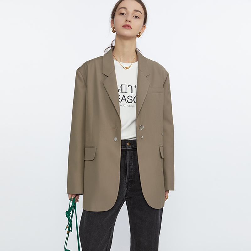 Fan Luo blazer womens spring 2021 new high-end fried street design sense niche brown coffee color small suit top