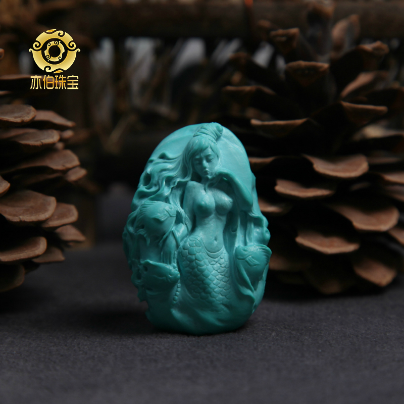 Yibo natural original ore turquoise original design Sember carved mermaid brand jewelry hand錬 necklace pendant