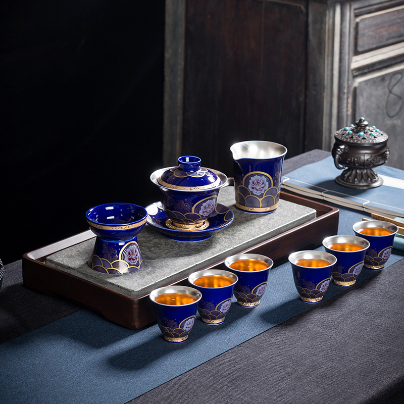 Ceramic silver blue tea set home silver kung fu tea set teapot cover bowl teacberry group gift box