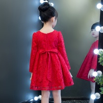 Girls Super air skirt baby thin cashmere childrens dress spring and autumn Red little girl princess dress spring