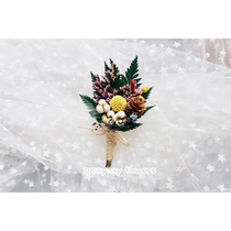 Mori Real flowers dried flowers live flower brooch brooch best man bridesmaids bride and groom parents reception master Party