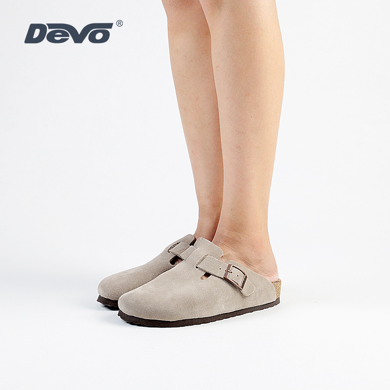 Devo/Wo Leisure Cork Slippers with Half-slipper Head and Semi-slipper Leather Slippers Fashionable Autumn Flat-soled Women's Shoes 3624