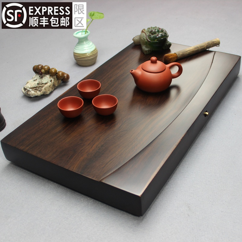 The whole block of ebony tea plate solid wood tea table rectangular household tea sea simple large wood drainage kungfu tea set