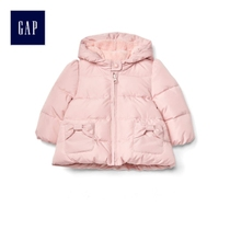 Gap girls baby comfortable pure cotton sweet warm bow patch Pocket hooded padded 836550 y