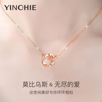 Mobius ring sterling silver necklace womens summer light luxury niche 2021 new clavicle chain Swarovski zirconium