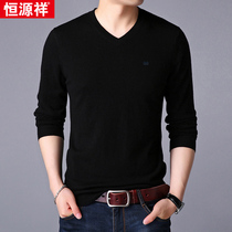 Hengyuanxiang sleeve head autumn and winter men v collar thin sweater