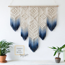 To youth) Bohemian gradient dyeing tapestry Nordic hand-woven bedroom bedside wall decorative fringes