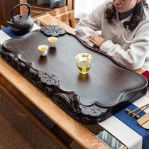 Solid wood black sandalwood tea tray Solid wood small carved household tea table Tea sea drainage Gongfu tea set