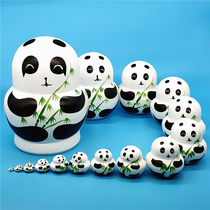 Russian set 15-storey panda pure hand-painted jitter set baby wooden crafts childrens puzzle toy gift