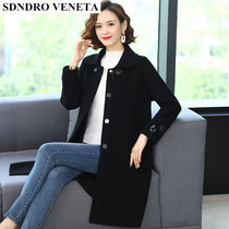 sandro veneta long autumn and winter solid color cashmere coat loose woolen size ladies padded coat