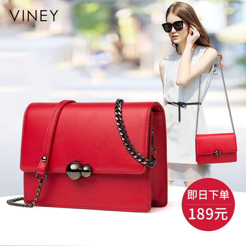 Viney2018 new women's bag retro Korean version of the Messenger bag shoulder bag diagonal cross leather bag fashion bag tide