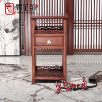 Solid wood Multi-storey small kung fu coffee table antique chinese Burmese pear wooden Belt tea water cabinet The living room side of a few corners