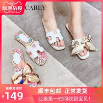 White cool female wear fashion Network Red 2019 summer new flat ins tide beach slippers Fairy Wind