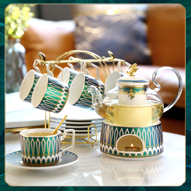 European-style ceramic afternoon tea set set light extravagant fruit tea cup fruit glass flower teapot candle heating