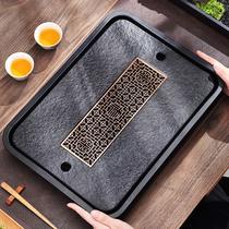 Wujin Stone tea tray household tea tray drain small luxury modern dry bubble table Japanese small tea table storage and drainage