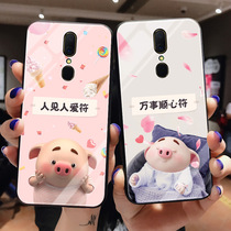 OPPOA9 pig small fart tempered glass phone shell oppo a9x personality creative cartoon A9X anti-fall protective cover tide men and women ultra-thin cute oppoA9X new silicone soft edge hard shell.