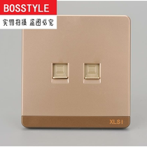 Champagne Gold 86 type double computer socket 2 double hole broadband network cable network wall concealed socket switch panel