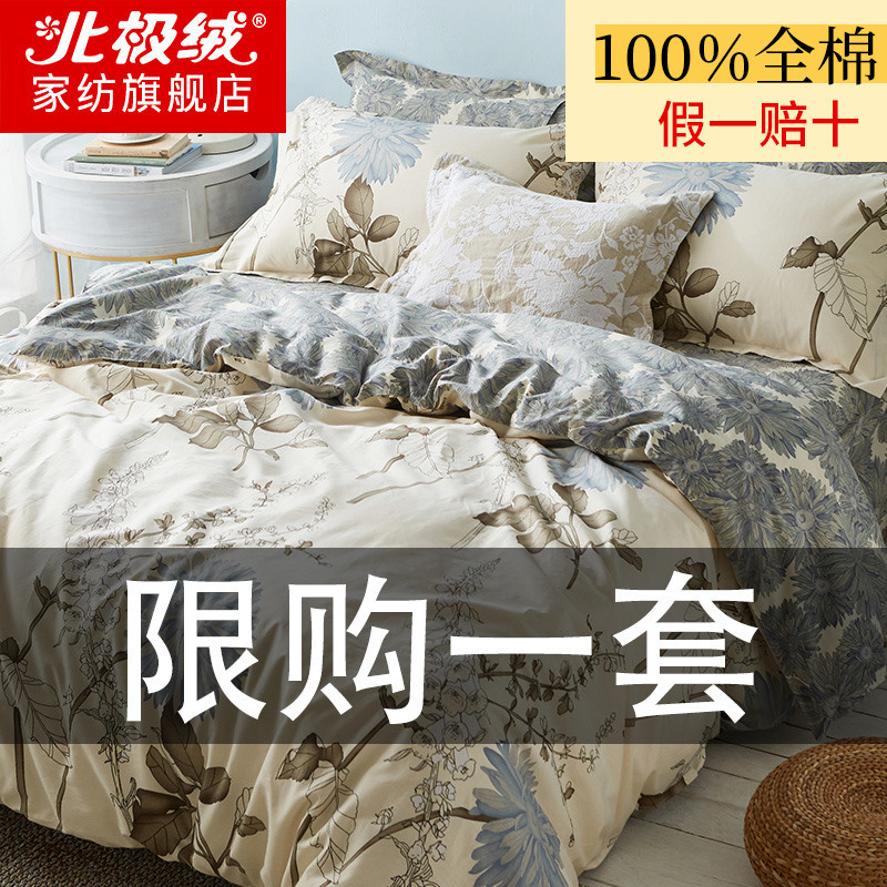 Cotton four-piece set of pure cotton quilt cover 100 sheet bedding spring and autumn bed household three-piece set of 4 bed products