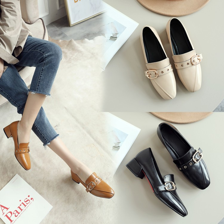 Commuting Temperament, Fashion Work Shoes with Square Heads and Rough Heels for European and American Women's Shoes in the Spring of 2019