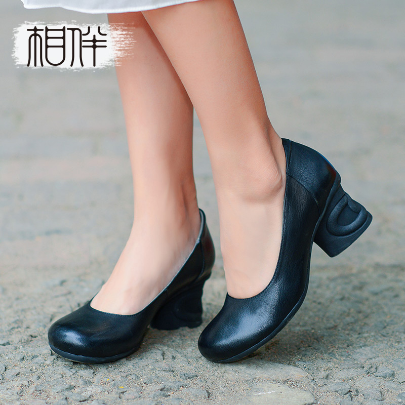 [Experience models] spring new leather women's shoes handmade retro simple and comfortable fashion high thick with shallow mouth single shoes