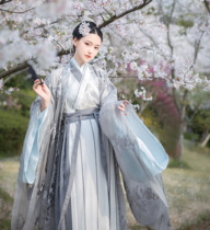 Banquet Shanting Traditional Han dress female autumn and winter dress embroidery large sleeves collar gilding snow spinning waist waistbands skirt-silver snow