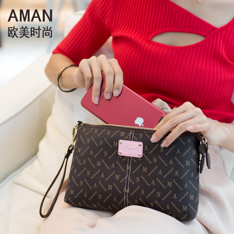 Aman2018 new clutch bag female small casual wild Messenger simple large capacity hand grab phone bag fashion