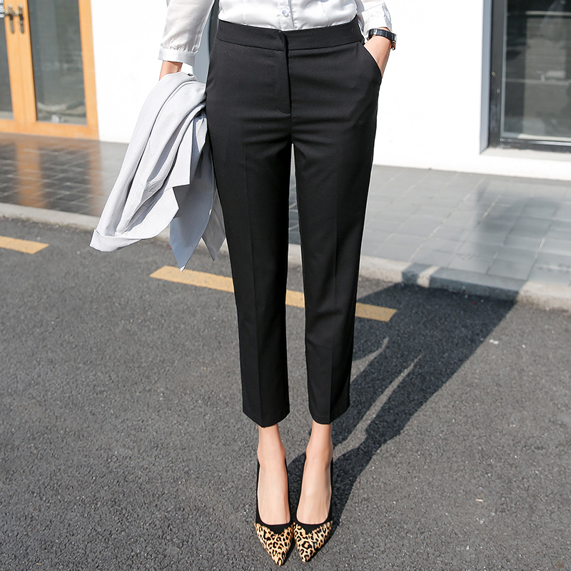 Suit pants womens spring and autumn nine division work pants black pants summer thin models professional smoke pipe pants straight small feet pants