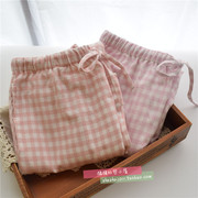 Female Japanese Muji simplicity wind pants small lattice cotton pants during the spring and autumn winter sanding flannel pants Home Furnishing paragraph