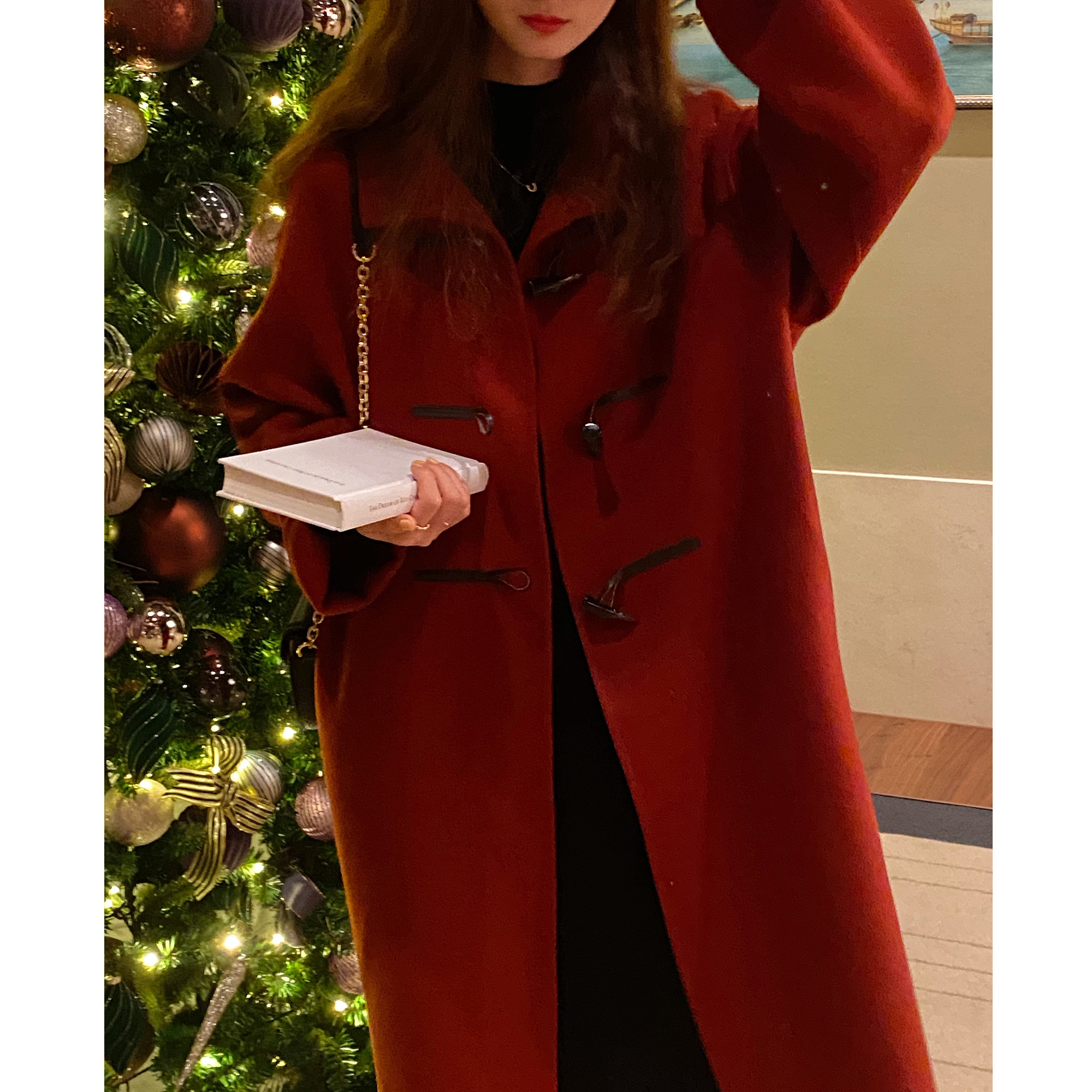 FAYEYE SHOP homemade New Years red all-wool double-sided coat womens winter mid-length version of the thick fur coat