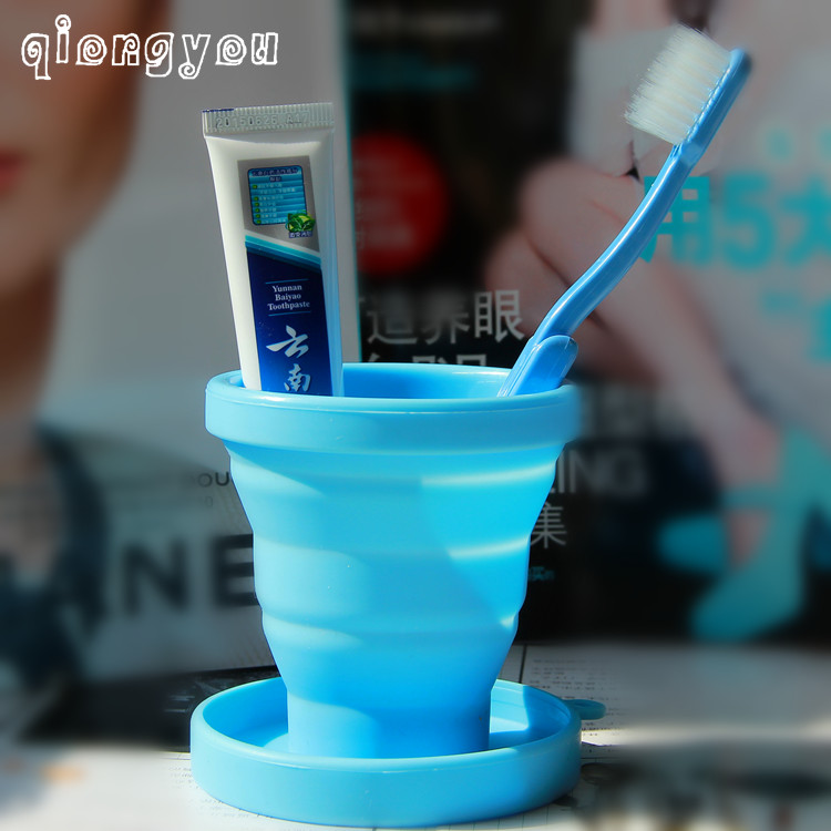 Travel folding silicone cup wash cup toothbrush toothpaste storage bag travel portable with lid toothbrush cup telescopic cup